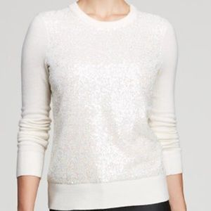 KATE SPADE IVORY WHITE SEQUIN WOOL SWEATER
